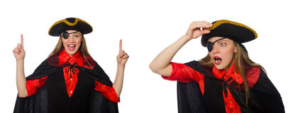 The woman pirate in various concepts on white Royalty Free Stock Image