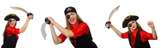 The woman pirate in various concepts on white Stock Photography