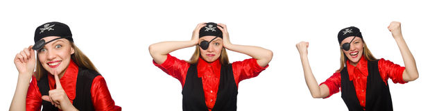 The woman pirate in various concepts on white Stock Photos