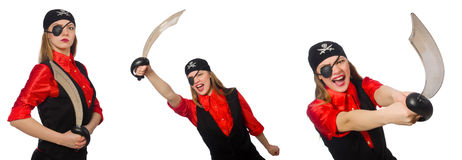 Woman pirate in various concepts on white Royalty Free Stock Image