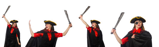 Woman pirate in various concepts on white Royalty Free Stock Photos