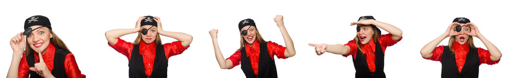 Woman pirate in various concepts on white Royalty Free Stock Images