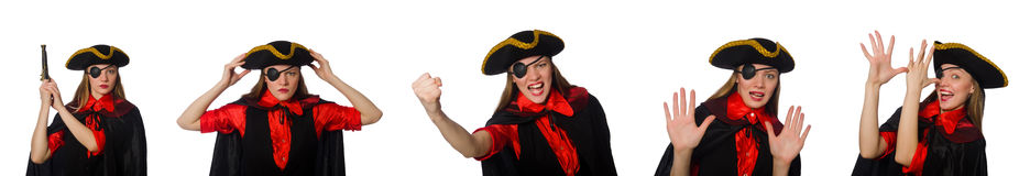 Woman pirate in various concepts on white Stock Photography