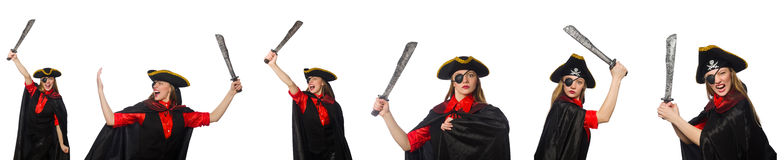 The woman pirate in various concepts Royalty Free Stock Photos