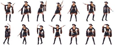 The woman pirate in various poses Stock Image