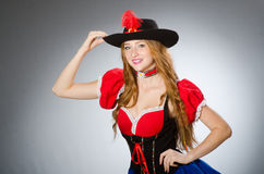 Woman pirate wearing hat Stock Images
