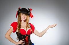 Woman pirate wearing hat Stock Photo