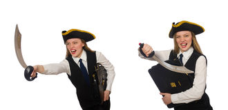The woman pirate  on the white Stock Photo