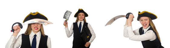 The woman pirate  on the white Royalty Free Stock Photo