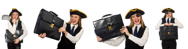 The woman pirate  on the white Stock Photography