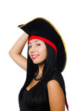 The woman pirate on white Royalty Free Stock Photography