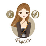 Woman With Pisces Zodiac Sign. Astrological Constellation Beauty Female Western Fortunetelling Lifestyle Royalty Free Stock Photos