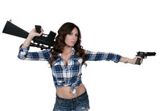 Woman with Pistol and M16 Stock Photo