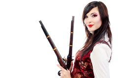 Woman with pistols Royalty Free Stock Photo