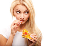 Woman with pizza Stock Photo