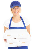 Woman and pizza boxes Royalty Free Stock Image