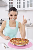 Woman with pizza Royalty Free Stock Image