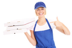 Woman and pizza Royalty Free Stock Photography