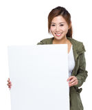 Woman with placard Royalty Free Stock Image