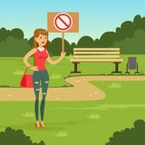 Woman with placard claiming her demands in the park, female with picket sign   Royalty Free Stock Photography
