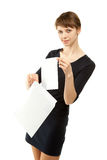 Woman placing a letter into envelope Royalty Free Stock Photography