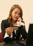 Woman Placing Order stock photos