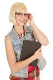 Woman plaid dress book glasses hold Stock Photos