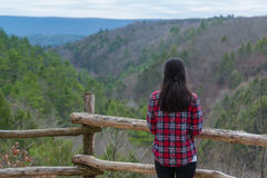 Woman in plaid enjoying the scenic view Stock Image