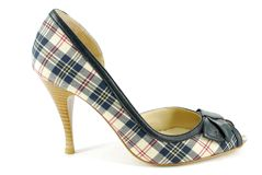 Woman plaid high heel shoe Stock Image