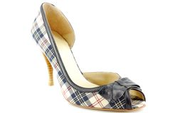 Woman plaid open toe shoe Stock Photos