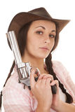 Woman plaid pink shirt gun hold close Royalty Free Stock Photos