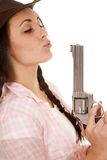 Woman plaid pink shirt gun woman plaid pink shirt gun blow close Stock Photos
