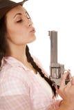 Woman plaid pink shirt gun woman plaid pink shirt gun blow close Stock Photos