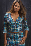 Woman in plaid Royalty Free Stock Photo