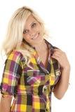 Woman plaid shirt hand up Stock Photography