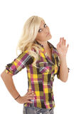 Woman plaid shirt upset royalty free stock photos