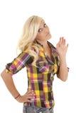 Woman plaid shirt upset Royalty Free Stock Photos