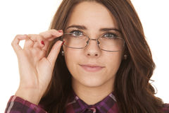 Woman plaid touch glasses close Royalty Free Stock Photo