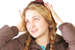 Woman with plaits looking up Stock Photos