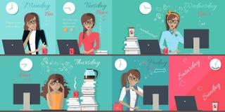 Woman Plan Work Week Design Flat Royalty Free Stock Images