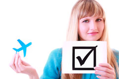 Woman, plane and check symbol Stock Photography