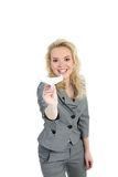 Woman with a plane of paper Stock Photography