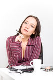 Woman planing her day after breakfast. Picture of a woman planing her day after breakfast Stock Photos
