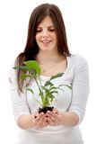Woman with a plant Royalty Free Stock Photography