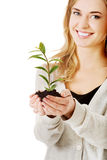 Woman with plant and dirt in hand Royalty Free Stock Photography