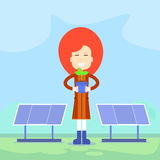 Woman Plant Green Flower Solar Eco Energy Panel Royalty Free Stock Images