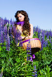 Woman In Plant Of Violet Wild Lupine Stock Photo