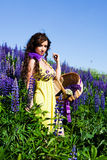 Woman In Plant Of Violet Wild Lupine Stock Image