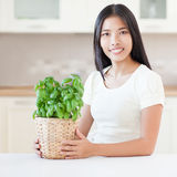 Woman and Plant Stock Photos