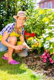 Woman planting flowers Royalty Free Stock Photos